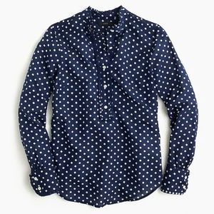 J. Crew Dotted Cotton & Silk Blouse